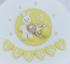 Edible bunny baby cake topper. Edible yellow girls Christening cake topper
