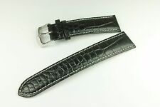22 mm Grained Croc Leather Band Strap w/White Stitch for Omega Watch Black Men's