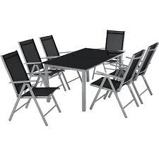 Alluminio set mobili da giardino 6+1 tavolo sedie pieghevole arredo esterno 7 pz