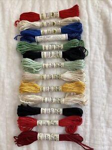 13 Skeins Soie d' Alger Kreinik Silk France Embroidery Floss Thread 5 Meters