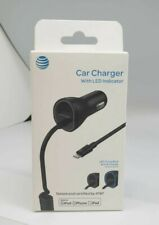 AT&T 4903G 3.4 Amp MFI Lightning Rapid Car Charger Smart LED iPhone 11 Pro X 7 8
