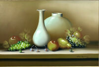 Vintage VASQUEZ Oil On Canvas Still Life Fruit Original Signed Painting 41x29