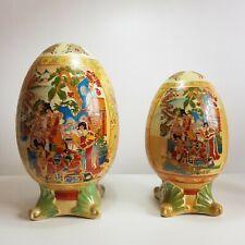 More details for vintage 1950s large chinese ceramic stoneware eggs - satsuma, gilt
