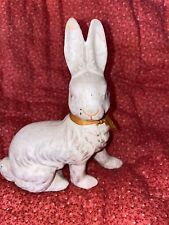 Antique German Poured Paper Mache Easter Bunny White Candy Container