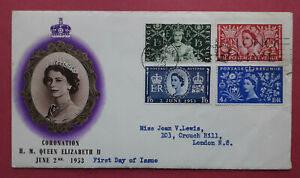 """1953 Coronation Illustrated First Day Cover - """"Long Live"""" slogan postmark"""