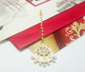 Gold Plated Kundan Bridal Maang Tikka Light Weight Wedding Pearls Head Piece