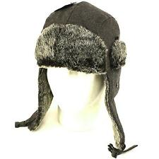 Winter Faux Fake Fur Wool Trooper Ski Hat Charcoal M/L