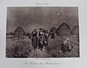 Eau Forte Impression le retour des Moissonneuses par Breton Jules