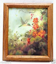 """Canvas Oil Painting """"Humming Bird & Flowers"""" w/ Vintage Style Wood Frame 13x15"""""""