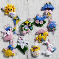 Bucilla Easter ~12 Pce. Mini Felt Ornament Kit #86757, Bunny Chick, Lily, Spring