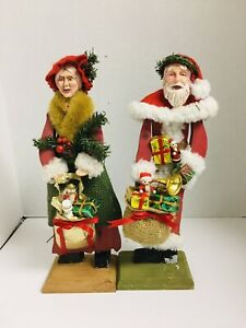 Wooden Mr and Mrs Claus 12 inches Tall Folk Art Christmas SSCO of America Co