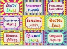 ROALD DAHL/WILLY WONKA Birthday Party Sweet Shop/Candy Bar Sweet Jar Labels