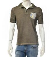 Polo Hommes BOB Company RICKY Petite Poche Kaki Blanc en Jeans Brodé Italy