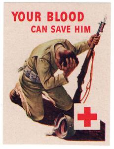 (I.B-CKK) US War Cinderella : Red Cross Publicity Label (Your Blood)