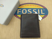 FOSSIL Tall Tri-fold Wallet LUFKIN Int Combi Dk Brown Leather Wallets Tin RRP£55