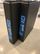 Lot Of 2 Mini Round Ring Binder 1 in 8.5 x 5.5 in Black With Pockets Inside
