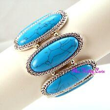 Vintage Ethnic Antique Braid Luk Oval Turquoise Stone Bangle Flex Bracelet Cuff