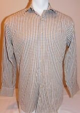 Peter Millar Mens Small Blue Brown Checked Long Sleeve Shirt Button Front