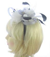 Silver Grey/white  looped fascinator headband, Weddings,Ladies Day Ascot Races