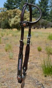 """Circle Y 5/8"""" One Ear Headstall Diamond Beaded Inlay Copper Conchos & Spots"""