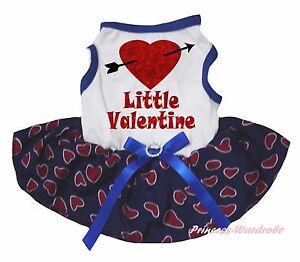 Little Valentine Arrow White Top Navy Blue Heart Skirt Cat Pet Dog Puppy Dress