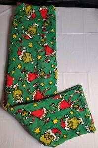 Dr. Seuss The Grinch Green Fleece Men's Unisex Pajama Pants Size Large