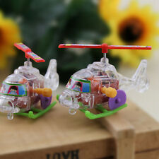 1x Mini Clockwork Transparent Aircraft Somersault Running Wind Up Toy  RAC