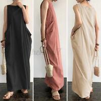 UK Women Pure Color Long Maxi Sleeveless O-Neck Summer Dress Plus Size Dress