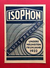 alter Prospekt Lautsprecher von ISOPHON 1932   ( F19149