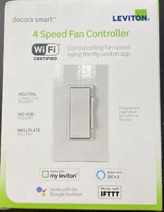 Leviton Decora Smart Wi-Fi 4-Speed Fan Controller, White (DW4SF-1BW)