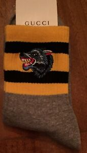 Gray Gucci Wolf Embroidered Socks Italy