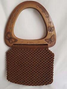 Handmade Boho Hippie Brown Macrame Purse Butterfly Handles Vtg Hand Shoulder Bag