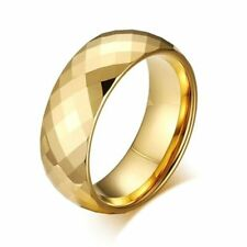 Gold Plated TUNGSTEN CARBIDE Diamond Faceted RING BAND, size 7 - in Gift Box