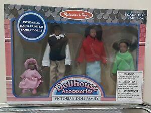 Melissa & Doug Victorian Wood Dollhouse Family African American 4 Dolls Poseable