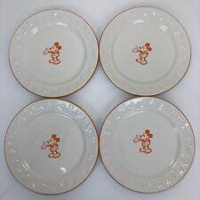 Disney Parks Mickey Mouse Gourmet Salad / Dessert Plates Set of 4 Orange White