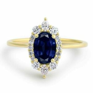 14K Yellow Gold 1.25 Ct Oval Diamond Blue Sapphire Engagement Rings Size M N O P