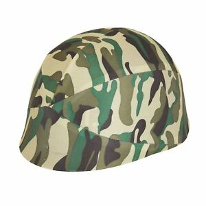 Camouflage Helmet Fabric Cover (Adult), Fancy Dress Accessory/Hat, Army