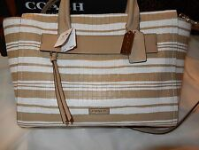 NWT Coach Bleecker Riley Carryall Tote Fawn White Woven Embossed Leather 31002