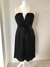 Somerset By Alice Temperley 14 Black Cream Silk Pleated Fit & Flare Lined Dress