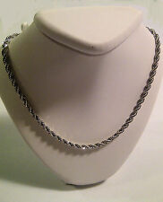French Rope Chain 24 inch Bright Silver Rhodium Platinum Plated 3mm diamond-cut