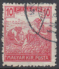 Ungarn Briefmarke gestempelt alt Altwert 10 Filler Bauer Feld Rundstempel / 1525