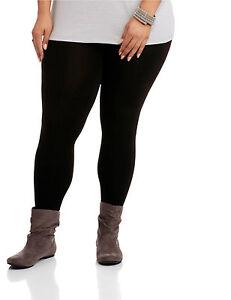 Womens Black Leggings Plus Size Seamless Spandex Curvy Pants Nylon New Soft