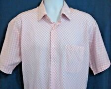 Salvatore Pellegrino Men XL Shirt Short Sleeve Button Front Pink White Check  T1