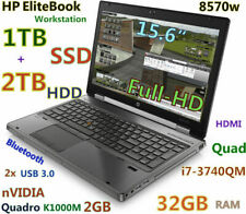 "Workstation HP 8570w i7-Quad (1TB SSD + 2TB HDD) 32GB 15.6"" FHD Quadro 2GB"