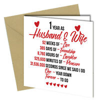 #720 1st Wedding Anniversary Gift Him / Her Quality Greeting Card Heart 6x6""