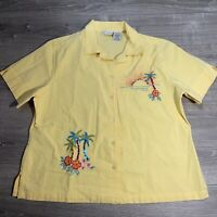 Vintage Retro White Stag Women's Hawaiian Tropical shirt XL Sequins Yellow