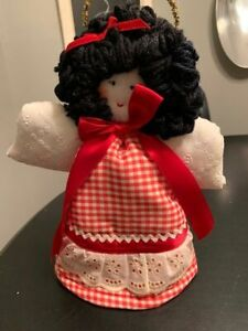"""Red Gingham Fabric Angel Tree Topper 12""""H"""
