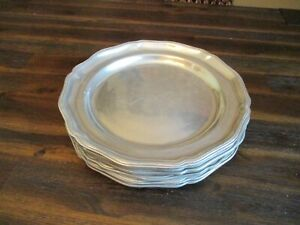 """Wilton Armetale Pewter Queen Anne 12"""" Serving Dinner Plates Chargers Set of 6"""