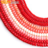 """Coral GemStone Beads Rondelle Beads Spacer Beads  For Jewelry Making 15"""""""