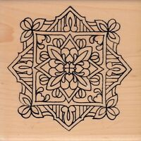 "flower tile 1528N holly berry house Wood Mounted Rubber Stamp 4 x 4"" free ship"